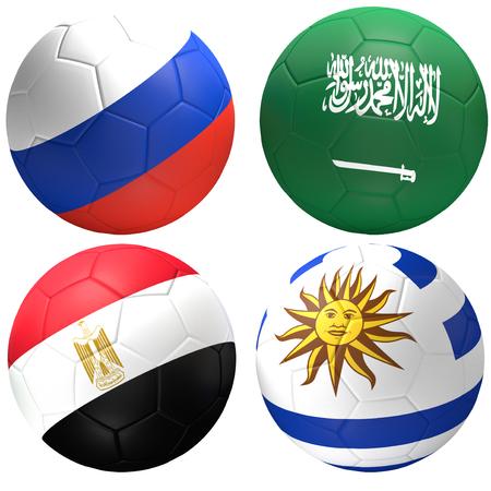 Russia Saudi Arabia Egypt Uruguay soccer ball 3d rendering Stock Photo
