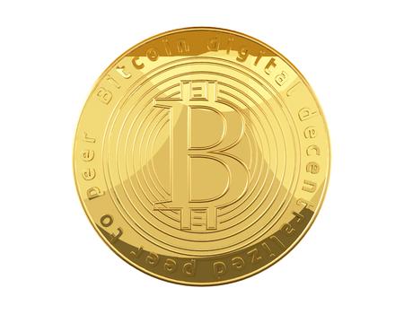 Bitcoin golden coin 3d rendering