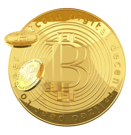 Bitcoin golden coins 3d rendering