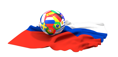 soccer ball 3d rendering russia flag Stockfoto