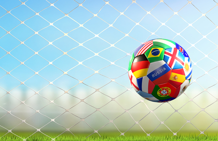 soccer goal with soccer ball with world flags design in soccer net 3d rendering