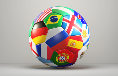 soccer ball with flags design 3d rendering