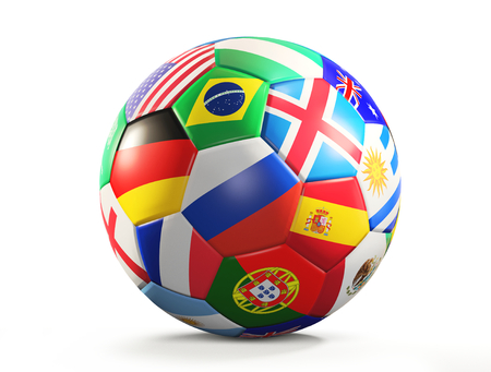 soccer ball with flags design 3d rendering isolated Archivio Fotografico