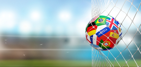 soccer goal soccer ball with flags in net at soccer stadium 3d rendering