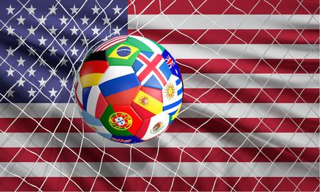 soccer football ball soccer shot on goal 3d illustration Stock Illustration - 100512240
