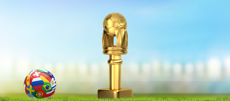 soccer golden trophy flags soccer ball 3d illustration