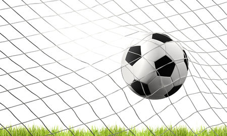 soccer football ball and green lawn with goal at soccer net 3d illustration