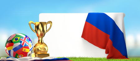 soccer flags ball Russia with golden trophy 3D illustration