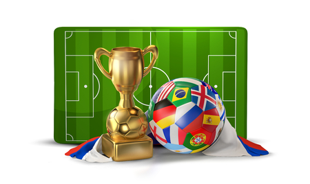 soccer ball and golden trophy at soccer field 3D illustration isolated