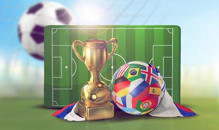 soccer ball playing field and soccer net goal 3d illustration