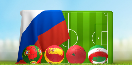 Group B soccer field 3D illustration with soccer balls and flags