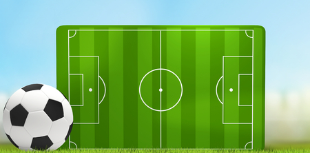 soccer field 3D illustration with white and black soccer ball