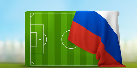 soccer field 3D illustration with flag of Russia Stock Photo