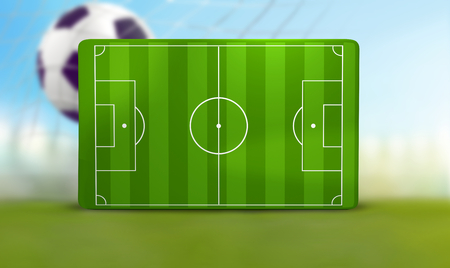 soccer field 3D illustration with one soccer ball