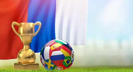 soccer ball with flags and golden trophy and flag of Russia 3D illustration
