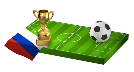 soccer field 3D illustration with flag of Russia and golden trophy Stock Photo