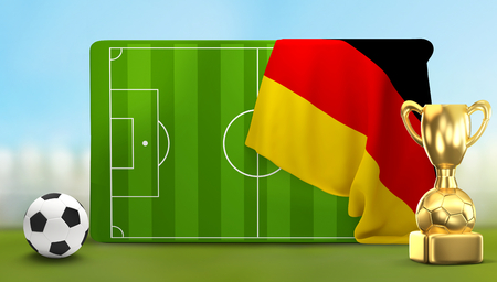 soccer field 3D illustration with soccer ball and trophy and flag of Germany Stock Photo