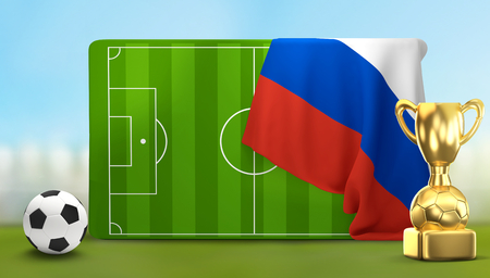 soccer field 3D illustration with soccer ball and trophy and flag of Russia