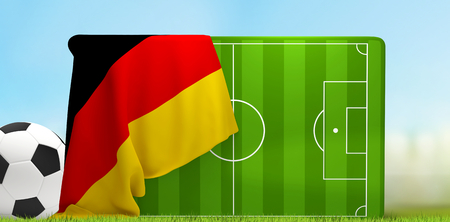 soccer field 3D illustration with soccer ball and flag of Germany Stock Photo