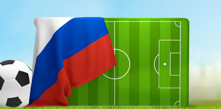 soccer field 3D illustration with soccer ball and flag of Russia Stock Photo