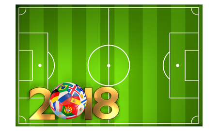 green soccer football field 3D Illustration