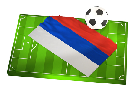 soccer field with flag of Russia ad soccer ball 3D Illustration