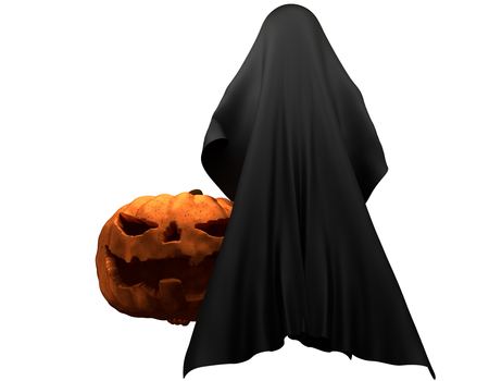Halloween pumpkin with ghost creature horror halloween 3d illustration Stock Photo