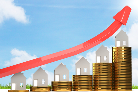 rising house prices 3D illustration