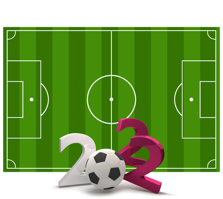 2022 soccer field soccer ball 3d illustration