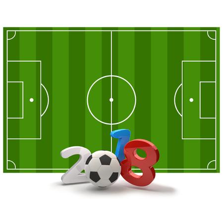 2018 soccer field soccer ball 3d illustration