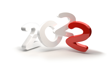 2022 white red symbol 3d rendering Stock Photo