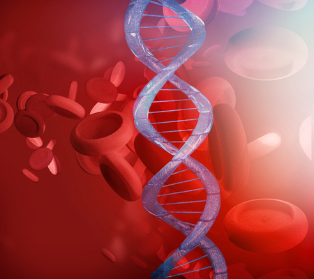 DNA Blood and artery in microbiology 3d rendering