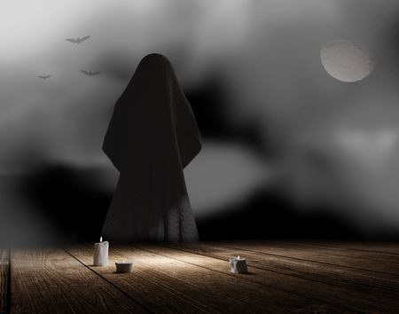 unidentified thing in the night with fog and candle lights and moon 3d rendering