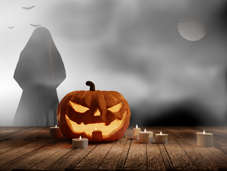 halloween night with pumpkin ghost fog and candle light 3d rendering 스톡 콘텐츠