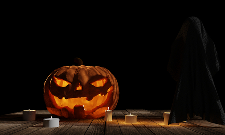 halloween pumpkin with ghost at wood planks with candle lights at black background 3d rendering
