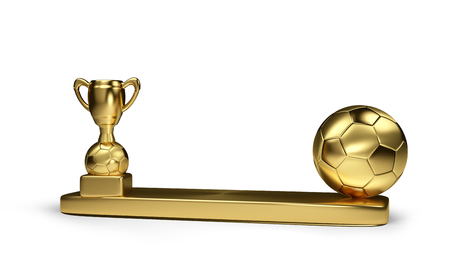 golden soccer ball and golden soccer trophy 3d rendering isolated Stock Photo
