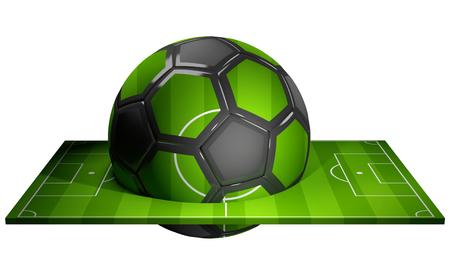 football ball and football soccer field 3d rendering
