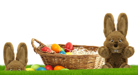 Easter bunnies 3d rendering with Easter eggs in basket at green grass