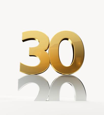 30 and 20 golden 3D-Illustration