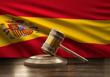 flag of Spain wooden judge gavel 3d-illustration
