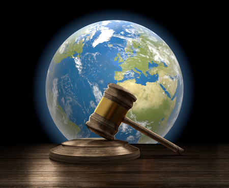 earth and wooden judge gavel 3d-illustration.