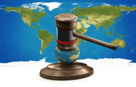 judge gavel world map globe 3D-illustration