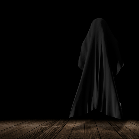 faceless thing over wooden floor with black background  3d-illustration