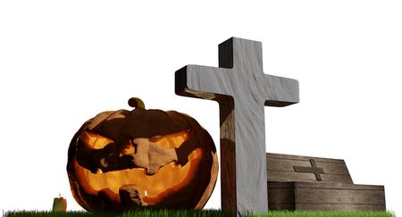 halloween pumpkin cross grave coffin 3d-illustration