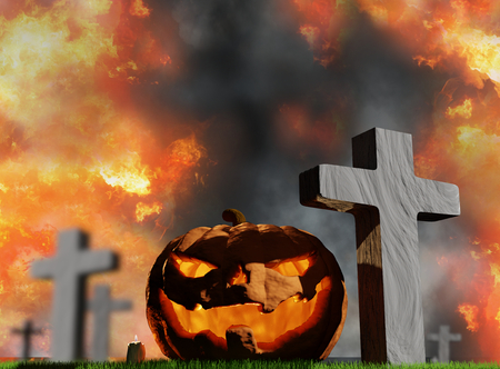halloween pumpkin at graveyard with grave crosses 3d-illustration