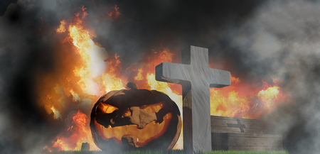 halloween pumpkin at graveyard with grave cross and coffin 3d-illustration
