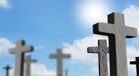 graveyard with grave crosses 3d-illustration