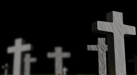 graveyard with grave crosses 3d-illustration