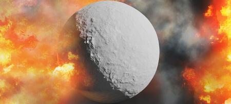 dead planet fire flames 3d-illustration