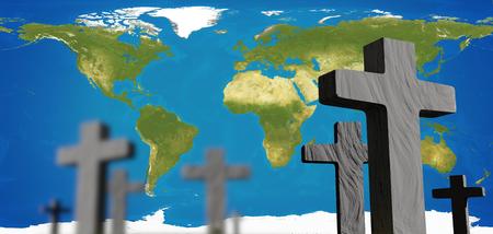 graveyard world map 3d rendering